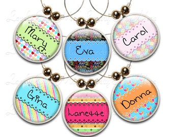 Personalized Wine Glass Charms, Set of 6, Wine Gift, Custom Charms, Wine Jewelry, Custom Wine Glass Charm, Wine Charms, Wine Accessories