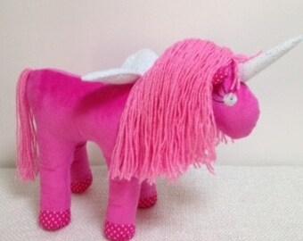 Unicorn, Unicorn Soft Toy, Unicorn Softie, Unicorn Plushie, Stuffed Animal, Pink Unicorn