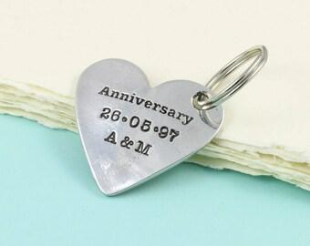 Personalised Anniversary Gift Pewter Heart Keyring Or Token, Gift for Couple, Gift for Her, Gift for Him, Anniversary Keepsake Gift.