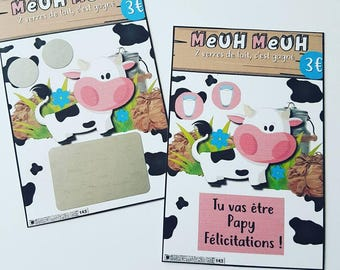 "Games ""Moo moo"" pregnancy announcement, scratch tickets"