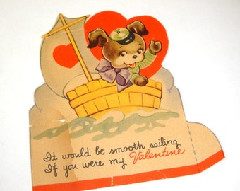 Sweet Vintage Valentine Card, Valentine's Day Greeting, Child's, Bear, Sailor, Smooth Sailing, Mid Century  (2014)