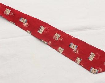 """Rare 90's Vintage """"TOMMY HILFIGER"""" Silk Patterned Designer Necktie"""