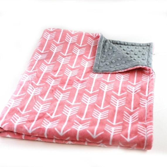 Adult Minky Blanket, Personalized Blanket - Gray Coral Throw - Arrow Blanket // Minky Throw Blanket // Large Minky Blanket / Twin Blanket