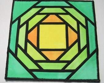 Green stained glass fabric plate mat
