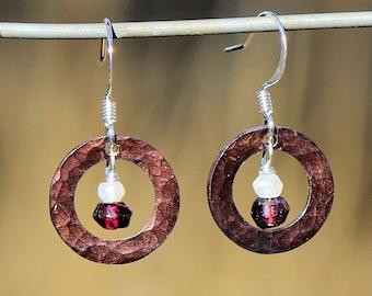 Hammered Copper Garnet and Moonstone Earrings