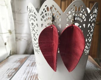 Leather Petal earrings - Rose