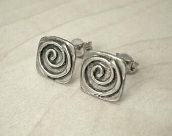 Silver stud earrings,square stud earrings,Greek stud earrings,small stud earrings,spiral stud earrings,square earrings,small earrings,studs