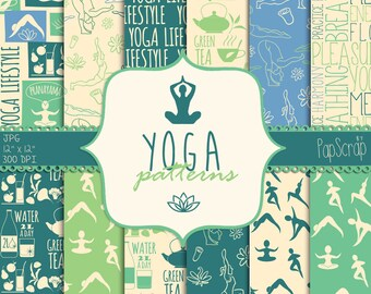"Yoga digital paper : ""Yoga Patterns "" zen digital papers, green digital papers / green and blue / yoga digital backgrounds / healthy living"