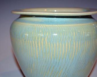 Ceramic Vase Handmade Pottery, Green, Centerpiece