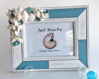 BEACH DECOR PHOTO frame, aqua/white frame, seashell frame, sea glass frame, nautical frame, coastal frame, beach wedding, 5 x 7 vert/horiz