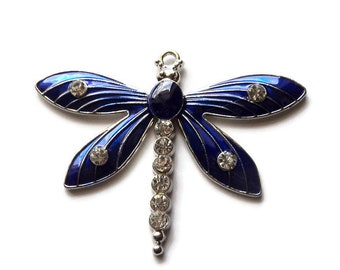 1 Large Antique Silver Alloy Dragonfly Pendant Focal, 49x64mm, Blue Enamel Rhinestone, Diy Jewelry Supplies, Findings, Takuniquedesigns 02P