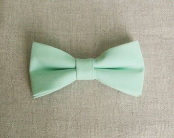 Mint Bow tie, Plain BowTie, Solid Mint Bow tie, Bow Tie for Wedding, Mens Bow Tie, Groom Groomsmen Bow Tie, Kid Bow Tie, Baby Boy Bow Tie