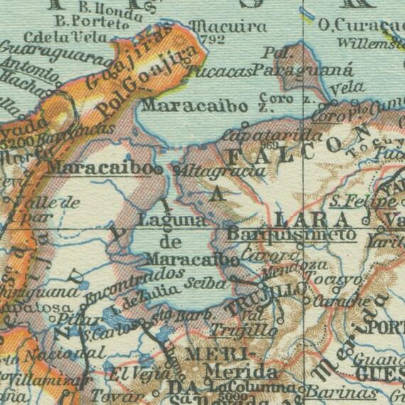 1938 vintage map of colombia venezuela ecuador peru 1938 vintage map of colombia venezuela ecuador peru gumiabroncs Gallery