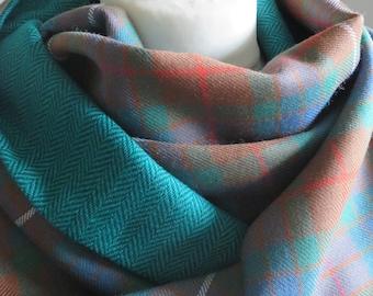 JAMMF. Fraser Hunting tartan wrap. Tartan & herringbone shawl. Vibrant tartan stole. Scottish clan tartan wrap. Fraser tartan. Only 2 left!