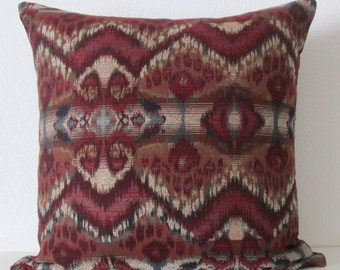 Rhythm Waves Red Hot ikat decorative pillow cover