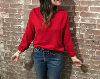 Vintage Saks Fifth Avenue v neck red cashmere sweater / 50s red sweater
