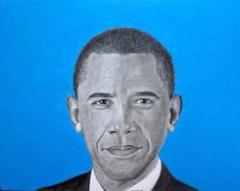 Barack Obama Black Charcoal Print