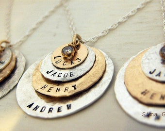As Seen At THE DENVER POST and Channel 9 News - Personalized Your Charm - Two Tone Necklace -   - 4 discs -Simag