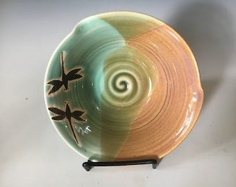Pottery Dragonfly Serving Bowl, Stoneware Cereal Bowl, Pottery Rice Bowl, Gift for Her.