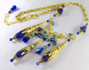 Sea Glass Royal Blue Teardrop Statement Necklace in Gold