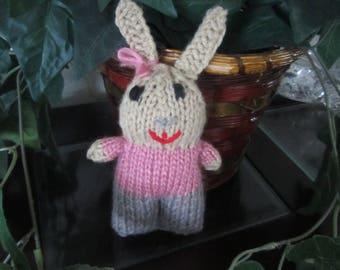 Hand Knit Stuffed Bunny Girl 6 inch Tall