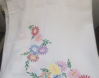 Hand embroidered tablecloth 75cm x 90cm