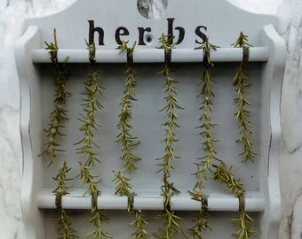 Large Vintage Farmhouse Repurposed Herb Drying Wall Rack and Display/ Chalk Painted, Distressed and Stenciled