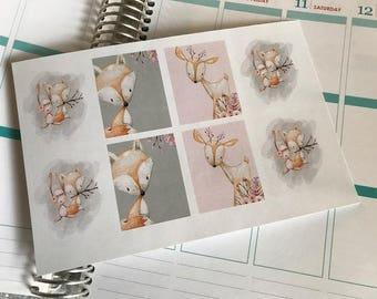 Tribal Animal Stickers Full Box Planner Stickers Fits Erin Condren Planner Stickers Planner Stickers Woodland Animal Stickers