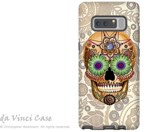 Tan Paisley Sugar Skull Galaxy Note 8 Case - Day of the Dead Case for Samsung Galaxy Note 8 - Sugar Skull Bone Paisley