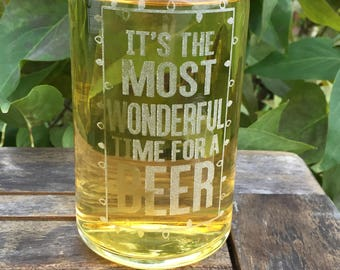 Beer Can Glass-Engraved-Christmas-It's The Most Wonderful Time For A Beer-Funny-Christmas gift for Men, husband, dad, brother, son, grandpa