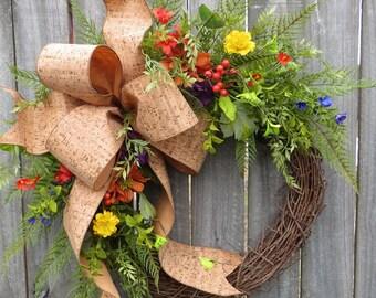 Wildflower Wreath, Spring Wreaths, Summer Wreath, Spring Wildflower Wreaths, Spring Door Wreath, Colorful Spring Summer Wreath for Door