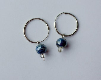 Glazed Multicolored Ceramic Hoop Earrings (II), Dangle and Drop; Gift Wrapping Available