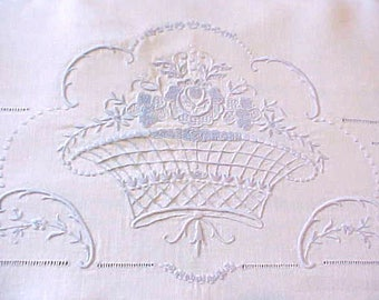 Gorgeous Antique Estate Bed Sheet with Powder Blue Embroidered Flower Baskets