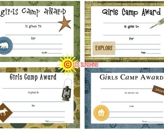 Camp Certificates for awards at Girls Camp