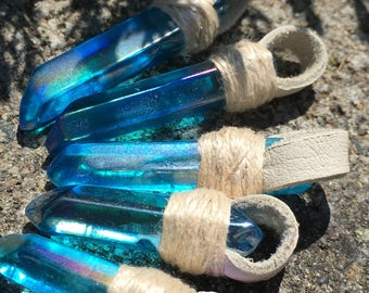 Electric Blue Flame Aura Quartz And Leather Pendants