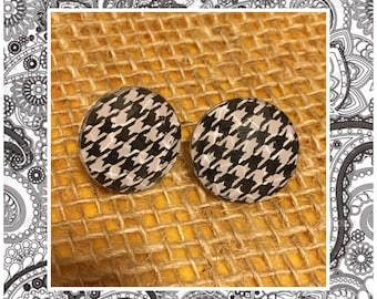 Houndstooth Jewel Stud Earrings - Jewel Studs - Black and White Houndstooth Earrings - Silver Studs - Houndstooth Medium Earrings - Small
