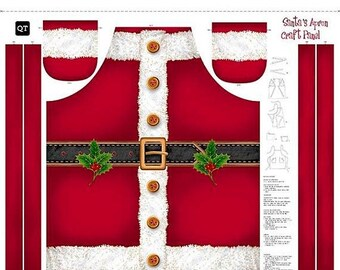 20% off thru 7/10 SANTA CLAUS Apron by QT Fabrics Christmas Panel-35 by 44 inches-25895-r~St Nick Party time