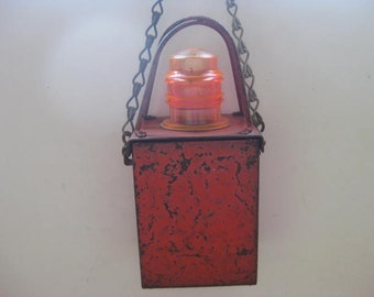 Vintage French red metal industrial warning light.
