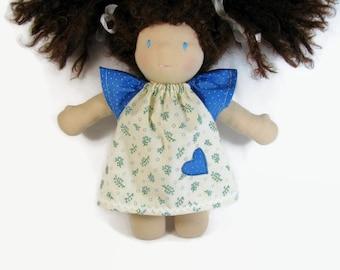 10 inch 12 inch Waldorf Doll Dress, Handmade Doll Dress, blue green cotton doll dress, optional white bloomers