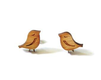 Little Birds. Bird Earrings. Wood Earrings. Stud Earrings. Laser Cut Earrings. Bamboo Earrings. Gifts For Her. Gift For Women.  Cute Earring