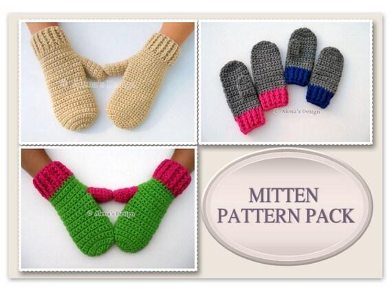Mitten Pattern Pack Crochet Patterns Adult Mittens - Crochet Pattern Childrens Mittens Toddler Children Teen Adult Mittens Pattern Men Women
