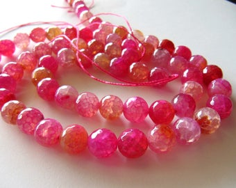 8mm AGATE Beads in Pink, White and Pale Peach Shades, Faceted, 1 Strand, 15 Inches, Approx 48 Pieces, Round, Gemstones Beads