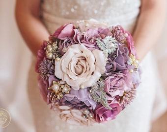 Dusty pink roses, brooch bouquet, bridal bouquet, throw bouquet, rustic flowers, pink bouquet, silk flowers, purple bouquet, bridesmaid posy