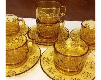 Vereco France Honey Amber Glass Daisy Pattern Cups & Saucers Set 6 Vintage 1970's Coffee Cups Embossed Flower Amber Glass Drinkware