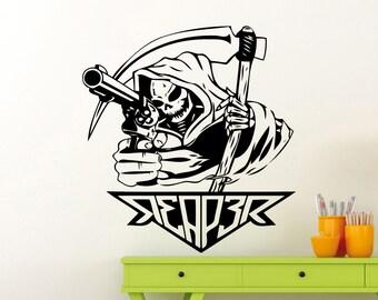 Death Reaper Wall Decal Grim Reaper Gun Scythe Scytheman Vinyl Sticker Home Room Interior Decoration Waterproof High Quality Mural (107ex)