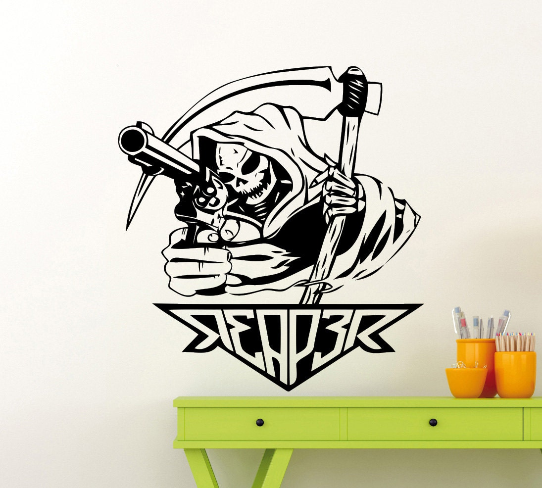 Death Reaper Wall Decal Grim Reaper Gun Scythe Scytheman Vinyl