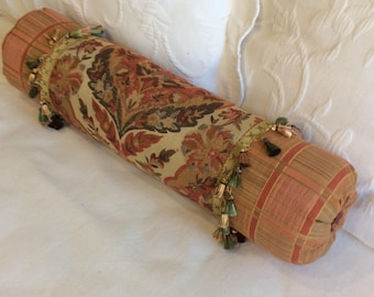 Rusty Browns decorative Bolster Pillow 6x22 ooak