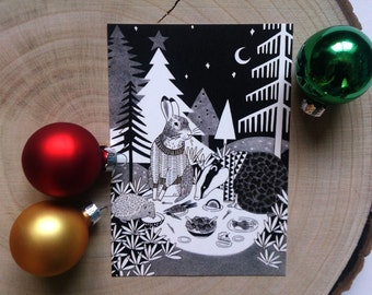 Forest Animals Illustration Christmas Card in Black & White