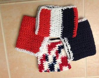 Handmade Crochet Extra Large  Cotton Wash Cloths / Set of 4 / Ready to ship / Patriotic / Red white and blue / kitchen dish cloth