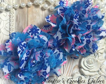 Blue Floral Print Chiffon Flowers with Blue and Hot Pink lace Set of 2 Gorgeous Shabby Chic Frayed Chiffon and Lace Rose Flowers- 3.5 inch